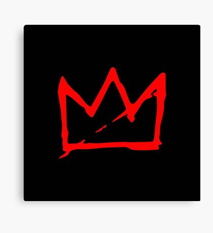 Red Basquiat crown Canvas Print