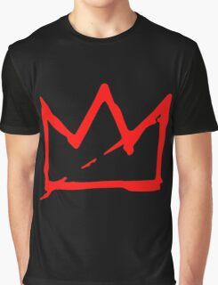 Red Basquiat crown Graphic T-Shirt