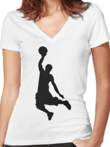 Basketball Player, Slam Dunk Silhouette Women's Fitted V-Neck T-Shirt