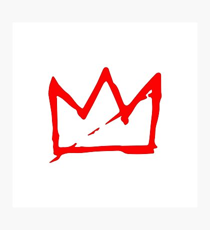 Red on white Basquiat Crown Photographic Print