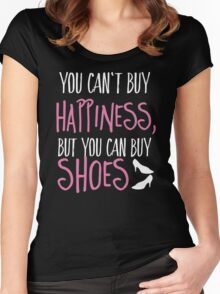 Can't buy happiness, but shoes Women's Fitted Scoop T-Shirt