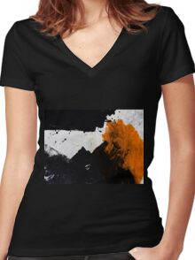 Minimal Orange on Black Women's Fitted V-Neck T-Shirt