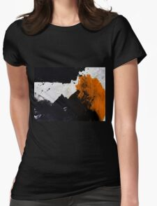Minimal Orange on Black Womens Fitted T-Shirt