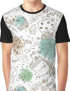 Cofee Break Pattern Graphic T-Shirt
