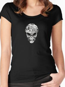 Doodle Skull Women's Fitted Scoop T-Shirt