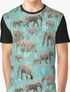 Sweet Elephants in Soft Teal Graphic T-Shirt
