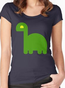 Cute Green Baby Dinosaur Women's Fitted Scoop T-Shirt