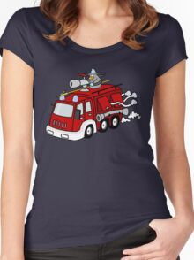 Fire Engine Penguin Women's Fitted Scoop T-Shirt