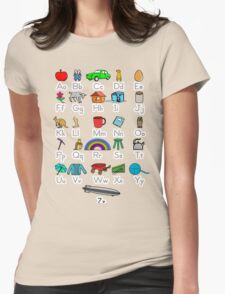 Kid's Colored Learning Alphabet Letters Womens Fitted T-Shirt