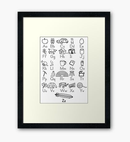 Kid's Outlined Learning Alphabet Letters Framed Print