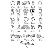 Kid's Outlined Learning Alphabet Letters Photographic Print