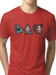 8 Bit Gaming Characters - Knight, Wizard, Archer Tri-blend T-Shirt