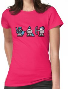 8 Bit Gaming Characters - Knight, Wizard, Archer Womens Fitted T-Shirt