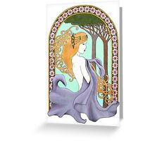 Art Nouveau Woman in Lavender Greeting Card