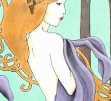 Art Nouveau Woman in Lavender Sticker