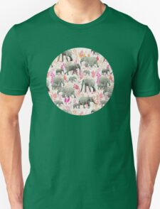 Sweet Elephants in Pink, Orange and Cream Unisex T-Shirt