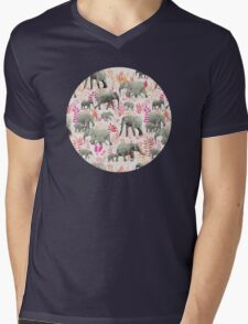 Sweet Elephants in Pink, Orange and Cream Mens V-Neck T-Shirt