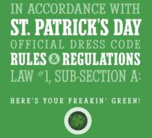 St. Patrick's Day Rules & Regs (original) One Piece - Short Sleeve