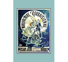 French Bicycle advertising, beautiful clowns, angels, wings Photographic Print