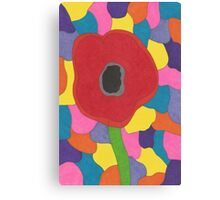 Stained Glass Poppy Canvas Print