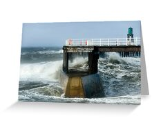 Waves Strike Whitby Outer Harbour Greeting Card