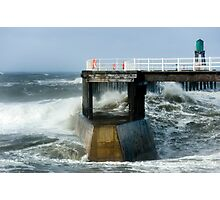Waves Strike Whitby Outer Harbour Photographic Print