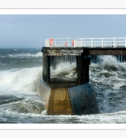 Waves Strike Whitby Outer Harbour Sticker