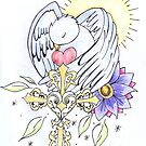 bird and cross tattoo design by Perggals© - Stacey Turner