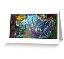 Hogwarts stained glass style Greeting Card