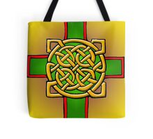 Gold and Green Celtic Cross Tote Bag