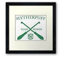 Slytherpuff Team Seeker in Green Framed Print