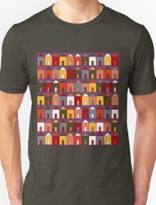 Beach Huts - Plum & Burgundy Unisex T-Shirt
