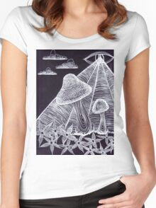 Trippy Eye Mushrooms Women's Fitted Scoop T-Shirt