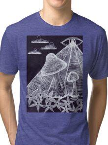 Trippy Eye Mushrooms Tri-blend T-Shirt