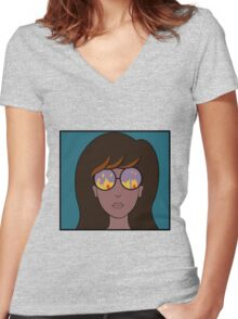Daria Fire Glasses Women's Fitted V-Neck T-Shirt