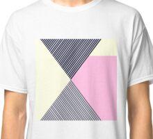 Pink Yellow Black Striped Modern Geometric Classic T-Shirt