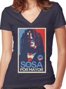 Chief Keef for mayor Women's Fitted V-Neck T-Shirt