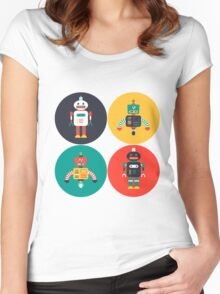 Retro Robots Women's Fitted Scoop T-Shirt