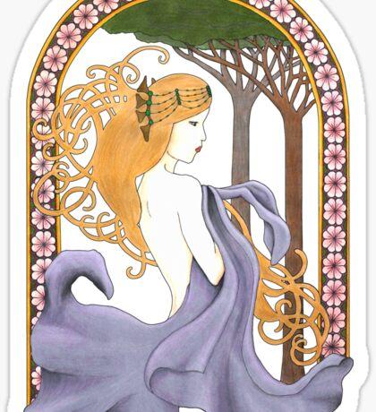 Art Nouveau Woman in Lavender Cutout Sticker