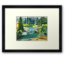 Green River -  Oil On Canvas Painting Framed Print