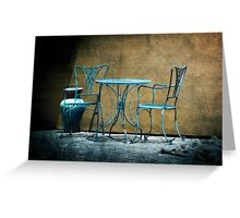 Table & Chairs in Blue Greeting Card