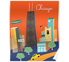 Chicago Michigan Ave - Skyline Illustration by Loose Petals Poster