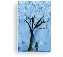 A blue forest - Watercolor painting Canvas Print