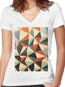 Abstract Diamond Pattern Women's Fitted V-Neck T-Shirt