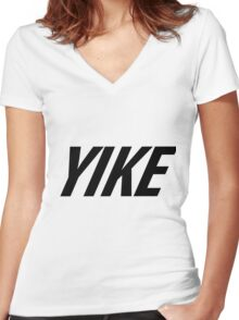 Yike, Nike parody. Women's Fitted V-Neck T-Shirt