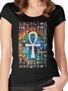 Egyptian Cross Galaxy Women's Fitted Scoop T-Shirt