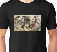 'Village Near a Bridge' by Katsushika Hokusai (Reproduction) Unisex T-Shirt