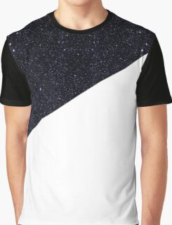 Modern Half Cut Starry Night and White Graphic T-Shirt
