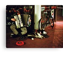Street Musician Playing Accordion with Dog and Bike Canvas Print