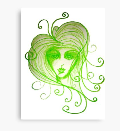 Green Girl with Whispy Hair Canvas Print
